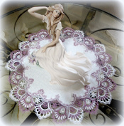 Mauve Rose Lace Doily 60cm Table Topper Pink Victorian Scarf