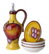 Classic Cucina Italiana Ceramic Oil Bottle and 4 Dipping Plates Fruit Yellow Design