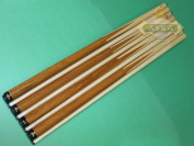 """Set of 4 Brand New Aska SP1 Malaswood Sneaky Pete Billiard Pool Cues, 58"""" Hard Rock Canadian Maple, 13mm Hard Le Pro Tip, Mixed Weights. Perfect Quality. Improve Your Game Room"""