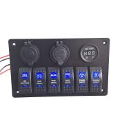 Iztoss Digital Voltmeter+12V Cigarette Socket +Double USB Power Charger Adapter aluminium Flush Mount 6 gang rocker switch Panel Black RV Car Boat