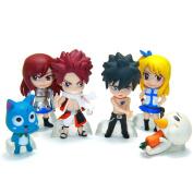 Anime Fairy Tail Lucy Natsu Grey Elza Happy Miniature Action Figures Toys 6pcs/set