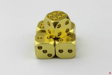 SZHOWORLD® Set of 5 Solid Brass Alloy Metal Dice (13mm) D6 - Highly Polished Golden Dices Set Deluxe Gift Souvenir