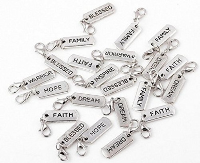 20 Pc Silver Tone Dangle Inspiration Charm Pendants, Jewellery Making DIY Necklaces & Bracelets