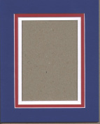 11x14 Patriotic Triple Picture Mat, Bevel Cut for 8x10 Picture or Photo