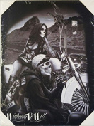 DGA Day of the Dead Ride or Die Biker Stretched Wood Frame Canvas Wall Art 30cm x 41cm - Highway to Hell