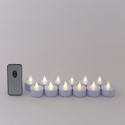 Set of 12 White Flickering Neutral White LED Battery Operated Tea Lights with Remote