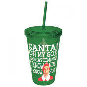 ICUP Elf The Movie Santa Oh My God Santa's Coming Coloured Cup with Straw, Clear