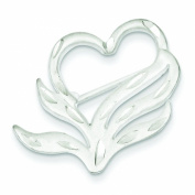 Sterling Silver Diamond Cut Heart Pin Brooch Jewellery