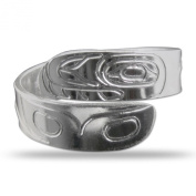 Sterling Silver Northwest Coast Native Orca Wrap Ring