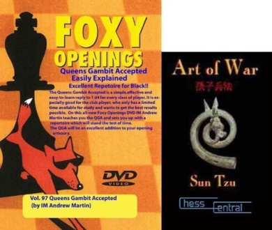 """Foxy Chess Openings: The Queen's Gambit Accepted for Black DVD & ChessCentral's """"Art of War"""" E-Book (2 Item Bundle)"""