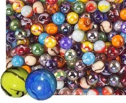 Glass Marbles Bulk, Set OF 50, (48 Players and 2 Shooters) Assorted Colours, Styles, and Finishes. with Game Marbles Rules.