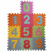 Childrens Puzzle Foam Play Mat Soft Number Jigsaw Activity Play Mat Floor Tiles With Number (0-9) Pop-Out