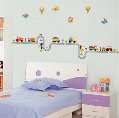 ufengke Cartoon Car Aeroplane Hot Air Balloon Wall Decals, Children's Room Nursery Removable Wall Stickers Murals