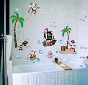 ufengke Cartoon Pirate Ship Monkey Pirate Coconut Island Wall Decals, Children's Room Nursery Removable Wall Stickers Murals