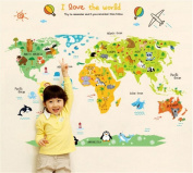 World map wall decal baby buy online from fishpond ufengke cartoon world map cute animal wall decals childrens room nursery removable wall stickers murals gumiabroncs Image collections