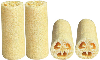 LUXEHOME Loofah Sponge, 4 Pack, Large 15cm Length, Natural Scrubber, Perfect for Bath or Kitchen