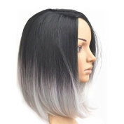 Meisi Hair Heat Resistant Short Bob Synthetic Hair Wig 36cm Blue & Grey