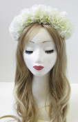 White Carnation Flower Hair Crown Headband Garland Festival Headdress Large V61 *EXCLUSIVELY SOLD BY STARCROSSED BEAUTY*