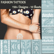 Premium White Lace Tattoos - 150+ Designs Temporary Fake Jewellery Tattoos - Bracelets, Feathers,Elephant,Wrist & Arm Bands Transfer Body Tattoos Sticker for Women