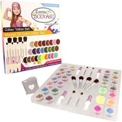 "Glitter Tattoo Kit by Custom Body ArtR 26 Colour ""Master"" Glitter & Body Art Set with 26 Large Glitter Colours, 50 Uniquely Themed Temporary Tattoo Stencils, 4 Glue Applicator Bottles & 8 Glitter Brushes. The Perfect Kit for Fashionable Party Fun for C .."