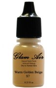 Airbrush Make up by Glam Air Airbrush Makeup Foundation S7 Warm Golden Beige Satin Foundation Water-Based Makeup (977)