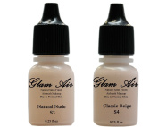 Glam Air Inc Two(2) Airbrush Foundation Makeup S3 Natural Nude & S4 Classic Beige In Satin Finish 5ml Bottles