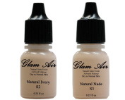 Glam Air Inc Two(2) Airbrush Foundation Makeup S2 Natural Ivory & S3 Natural Nude In Satin Finish 5ml Bottles