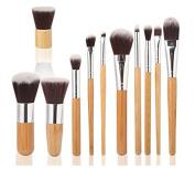Tinabless 11pcs Makeup Brushes Set - Bamboo Handles Eco-friendly Makeup Brush Kit - Natural Make Up Brush Set - Vegan Beauty Cosmetics Tools - Soft Bristles Make Up Brushes with Makeup Brushes Pouch - Professional Concealer Eyeshadow Contour Lip Eyebro ..