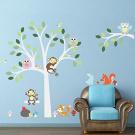 Zooarts Monkey Owls Rabbit Tree Playing Wall Sticker Decals