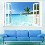 Zooarts 3D Window Scenery Blue Sea Removable Vinyl Wall Decal Sticker Mural