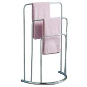 Bath Vida Three Tier Towel Stand Bathroom Rack Free Floor Standing Towel Holder Curved, Chrome, Metal