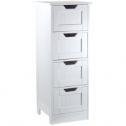 Bath Vida Bathroom 4 Drawer 1 Door Floor Standing Cabinet Unit Storage Wood, White, Wood