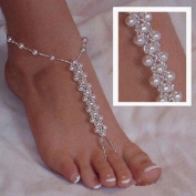 Vovotrade 2pc Imitation Pearl Barefoot Beach Anklets Sandals Anklet Foot Chain Jewellery