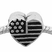 "SEXY SPARKLES Women's "" Usa Flag Heart Charm ""Bead Charm"
