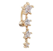 RichBest Fashion Reverse Belly Rings Dangle Star Long Tassel Navel Bar Gold Plated Piercings Crystals Cz Navel Rings