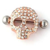 RichBest Fashion Body Jewellery. Skull Nipple Piercing Ring Body Piercing Jewellery 14G Gold Nipple Rings Women Men Jewellery