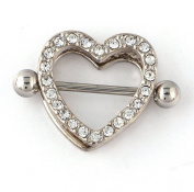 RichBest 1 Pair Double Heart With Clear Crystals Nipple Bar Ring Piercing Steel 22mm 14Gauge