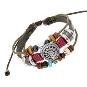 Oyedens Vintage Bohemia Beaded Multilayer Hand Woven Bracelet Snap Jewerly