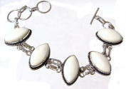 TANGLZ Bracelet White Jade and 925/1000 Silver stone of clarity, Free, Tracked Delivery