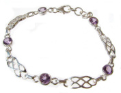 TANGLZ Celtic Bracelet-Amethyst and 925/1000 Silver Crystal Case Free, Tracked Delivery