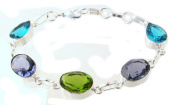 TANGLZ beautiful bracelet, Peridot, Blue Topaz and Amethyst/Solid Silver 925/1000 with Free Tracked delivery
