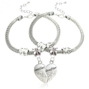 2pcs Silver Alloy Broken Heart Split Puzzl Mother and Daughter Charm Pendant Bracelet Gift for Family
