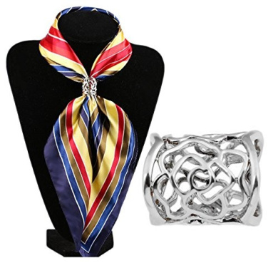 Hollow Rose Scarf Ring Buckle Slide Tube Scarf Jewellery Silver