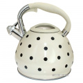 Cream Polka Dot Design 3.5 Litre Capacity Stainless Steel Whistling Kettle