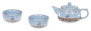 "TEA SOUL ""Ru Ware"" Teapot with 2 Cups, Porcelain, Blue, 205 ml"