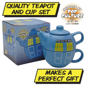 DR.WHO POLICE PHONE BOX TEAPOT FOR ONE - Tardis Tea Pot and Cup Set - DOCTOR WHO BLUE