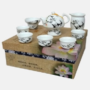Oriental Chinese Porcelain Plum Blossom Branches White and Black Tea Set MA