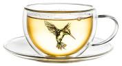 Creano Hummi Double-Walled Tea/Latte Macchiato Thermo Cup Hummingbird Saucer 250 ml in Exclusive Gift Box Blue