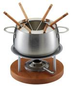 Kuhn Rikon Meat Fondue ZerMatt Set, 10pcs., Fondue Pot Ø 15 cm, Chafing Dish, Burner, Forks, Splash Protection, Stainless Steel, Cherry Wood, 32212