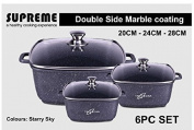 Tri-Star Supreme Die Cast Non Stick Marble Coating Square 6pc Set Casseroles (Suitable for all Hobs including Induction)
